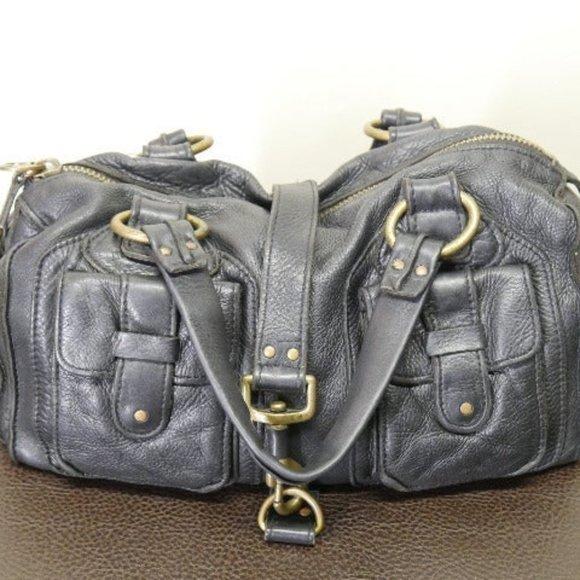 Linea Pelle Handbags - Linea Pelle Pebbled Blk Leather Satchel